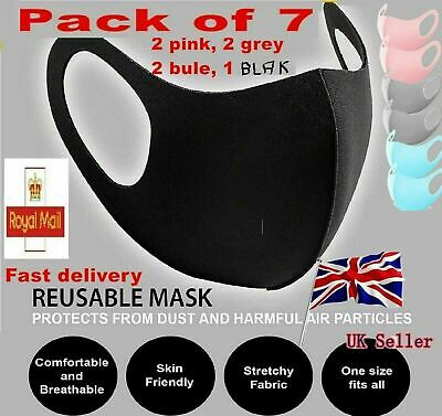 A Set of 7 Face Masks Protective UK Seller /Reusable Washable Breathable, uk 2uk