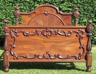 Victorian Solid Mahogany Carved King Size ( 5ft Wide ) Double Bed With Pine Base