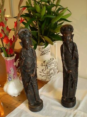 CHINESE MALE & FEMALE ORIENTAL CARVED RESIN FIGURES/DEITIES  42cm TALL