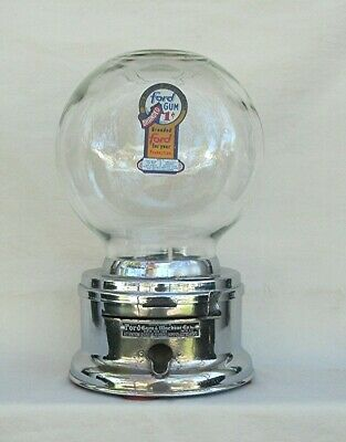 Chrome Counter top 1c Ford Gumball  Machine Glass Globe with fired  Decal