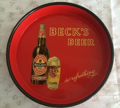"Vintage Beck's Beer Tray ""So Refreshing"""