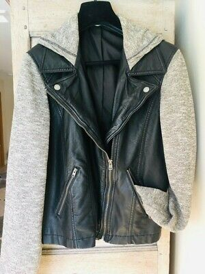 Hollister Hoodie Faux Leather Jacket Black/Marl Grey Excellent Condition Large