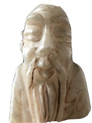 Antique Hand Carved Large Soapstone Chinese/Japanese Monk Figurine Signed