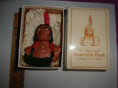 Scarce 1947 Native American Indian Shawmut Bank Ceramic Bust Promo Giveaway