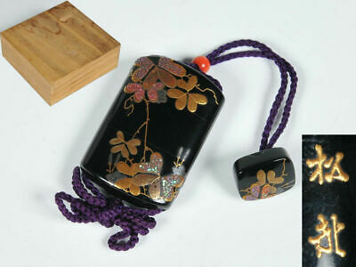 Botanical lacquer work Hime Inro with box