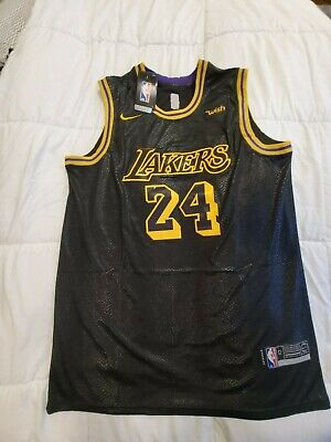 L Brand New With Tags Black Kobe Bryant Jersey (Purple Color Trim)