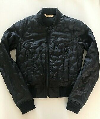 Hollister Teenage Girl's Navy Blue Quilted Zip-Up Bomber Jacket, XS (13-14 yrs)