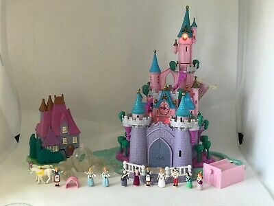 🦉Polly Pocket Cinderella Castle Coach 💯% COMPLETE + Stepmother's House 🌈