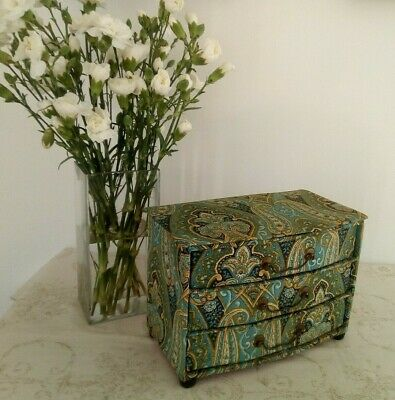 Vintage French Boudoir / Sewing / Fripperies Fabric Covered 3 Drawer Box