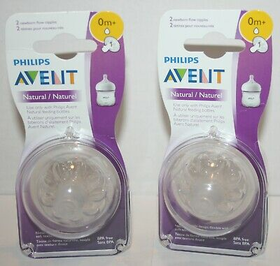 SEALED Phillips Avent Natural Nipples Newborn Slow Flow - 2 Packs, 4 Nipples