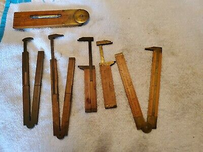 Vintage measuring tools wood and brass