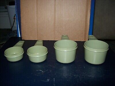 Vintage Tupperware Measuring Scoops Lot Of 4 Harvest Green Good Condition