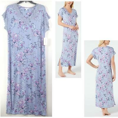 Charter Club Knit Nightgown Leafy Botanical Blue Choose Size New Pajama