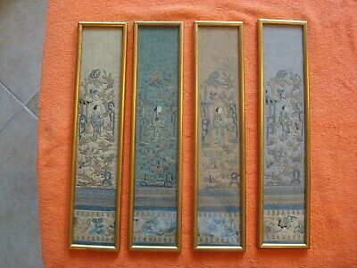 Four Qing Dynasty Framed Robe Panels Embroidered Forbidden Stitch 19th century