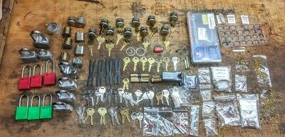 One lot of practice locks, pins, springs and keys for lock smithing