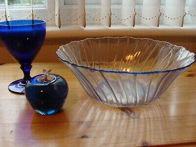 3 Blue Glass Items, Vintage Fruit Bowl, Artisan Paper Weight And A Goblet Collec