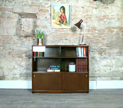 Vintage mid century 1950s oak glazed bookcase & cabinet storage retro DELIVERY