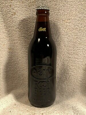 FULL 12oz DIET A&W ROOT BEER ACL AND EMBOSSED SODA BOTTLE