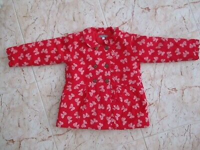 New Pretty LES PETITES SOLEILS Girls Red Pin Corduroy Padded Coat age 4 yrs