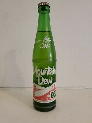 VTG Mountain Dew Traditional Hillbilly Style 10 oz Green Glass Soda Pop Bottle