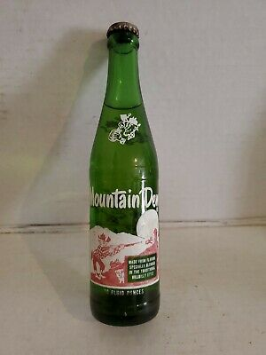 Mountain Dew Soda Pop Glass Bottle Green 1965 Vintage Hillbilly Pig