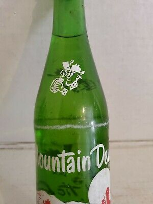 Vintage Mountain Dew Hillbilly 10 oz Green Glass Soda Pop Bottle