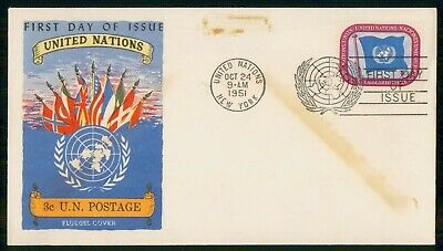 Mayfairstamps United Nations FDC 1951 Flags of Different Countries First Day Cov