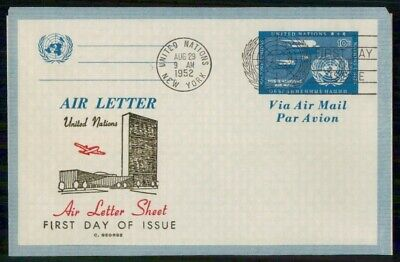 Mayfairstamps United Nations FDC 1952 Air Letter UN Building First Day Cover wwe