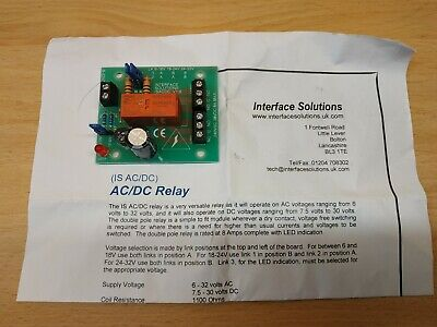 FIRE / INTRUDER ALARM 6 to 32 VOLT AC/DC RELAY BOARD CLEAN CONTACT DOUBLE POLE