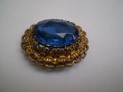 Vintage Western Germany Filigree Pin Brooch with Beautiful Sapphire BLUE Stone