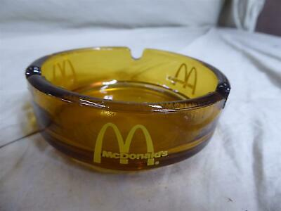 """Vintage McDonald's Golden Arches 3.5"""" Yellow/Amber Glass Ashtray"""