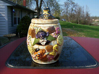 Vintage HTF 1970's Sesame Street Ceramic Cookie Jar Signed by the Artist