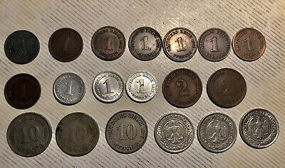 Mixed Lot Of (19) Early Vintage German Coins