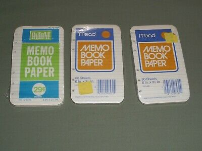 "3 Vintage Memo Book Paper 2 Mead 1 Hytone 6 Holes 270 Sheets in All 6"" x 3 1/2"""