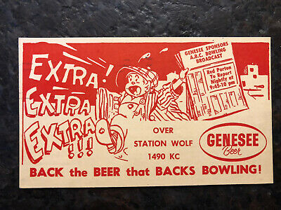1958 Genesee Beer Postcard ABC Bowling Radio Station WOLF Cancelled