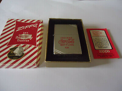 1995 Zippo Coca Cola Indiana Bottling Co Lighter with Case and Paperwork - NIB