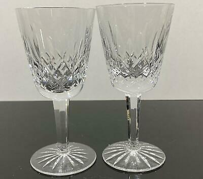 2pc WATERFORD Crystal Fancy Cut Art Glass Wine Glasses Goblets Lismore