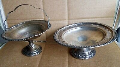 Sterling Silver Nut Dish & Candy Dish wHandle Damaged For Scrap Weighted Bases
