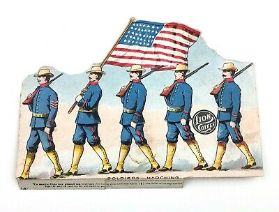 Children's Paper Toy Marching Soldiers Lion Coffee Antique Card