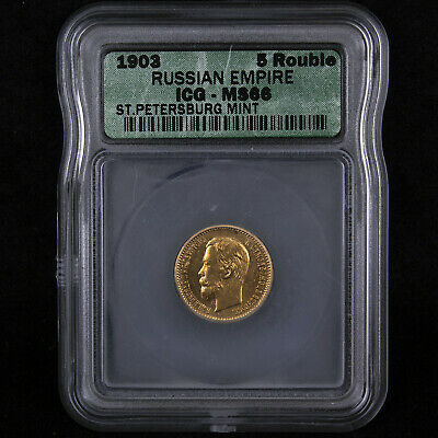 Russia 1903 5 Rouble gold certified ms66