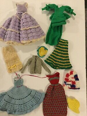 Lot Vintage Knit And Crochet Fashion Doll Clothing Dresses Skirts Barbie Tammy