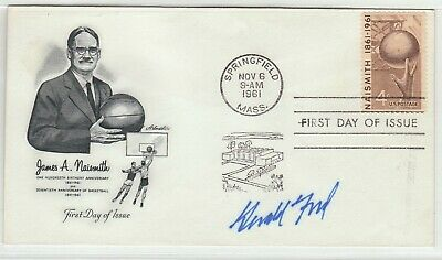 Gerald R. Ford Signed Nm 1961 First Day Cover Basketball Naismith -Psa/Dna