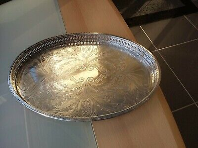 Vintage Falstaff Silver-plated Collection Large Oval-shaped Gallery Tray