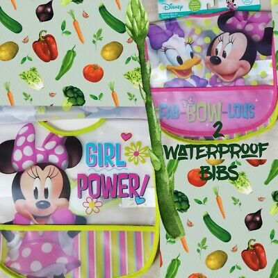 Toddler bibs lot of 2 waterproof NEW Minnie Mouse