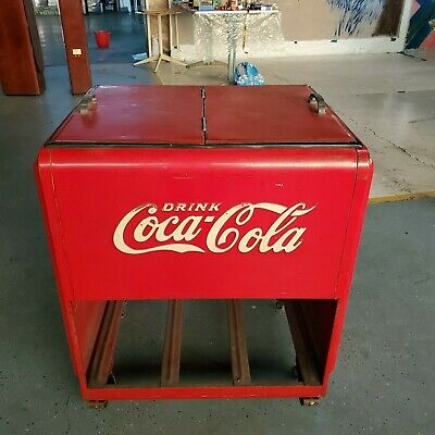 Vintage big size Coca Cola Cooler Chest Icebox Double Lid 1930s