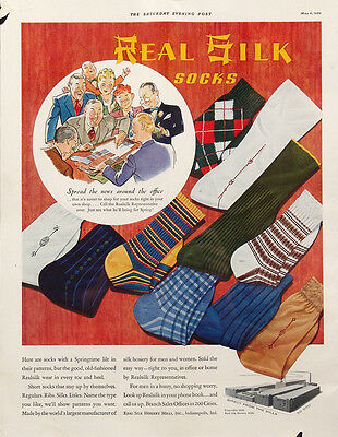 1939 Real Silk Socks Vintage Magazine Ad