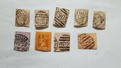 A selection of Queen Victoria GB + Empire stamps. Interesting lot.