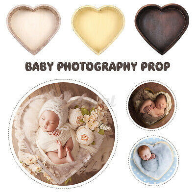 15.35'' Wood Heart Photography Prop Cot Baby Photo Bed Newborn Photographic Box