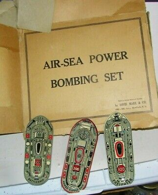 vintage tin toys-Air Sea Power bombing set Louis Mark-3-muli color ships box
