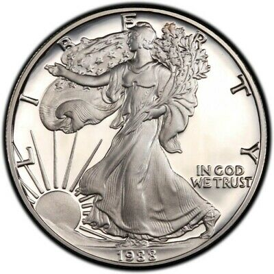 1 once OZ argent silver BU USA LIBERTY WALKING american eagle 1988 ETATS-UNIS